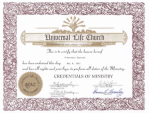 Certified Wedding Celebrant Italy Universal Life Church